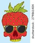 skull fruit strawberry with... | Shutterstock .eps vector #279861404