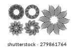 a set of stylized flowers frame.... | Shutterstock .eps vector #279861764