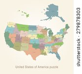usa administrative map   puzzle | Shutterstock .eps vector #279878303