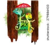 tropic trip postcard chameleons ... | Shutterstock .eps vector #279886433