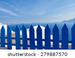 Blue Fence Against Volcano...