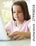 hispanic girl using laptop | Shutterstock . vector #279908018