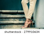 woman legs in high heel golden... | Shutterstock . vector #279910634
