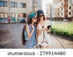 two street girls  happy sisters | Shutterstock . vector #279914480