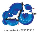 drawing of two storks in the... | Shutterstock . vector #279919913