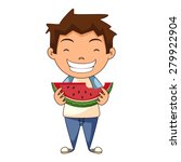 Child Eating Watermelon  Vecto...