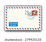 Air Mail With Stamp And...