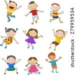 cartoon many kids jumping... | Shutterstock .eps vector #279959534