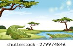 two green crocodiles in the... | Shutterstock .eps vector #279974846