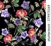 red rose  blue bell flower ... | Shutterstock . vector #279975269