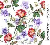 red rose  blue bell flower ... | Shutterstock . vector #279975278