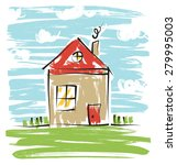 colorful house  kids drawing   Shutterstock . vector #279995003