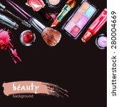 watercolor cosmetics pattern.... | Shutterstock .eps vector #280004669