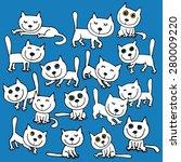 16 vector white funny cats.... | Shutterstock .eps vector #280009220