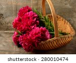 bouquet of burgundy peonies in... | Shutterstock . vector #280010474