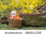 baby girl in basket | Shutterstock . vector #280011230