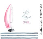 watercolor boat with sails made ... | Shutterstock .eps vector #280020536