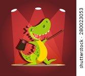 happy cute cartoon dinosaur at... | Shutterstock .eps vector #280023053