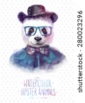 cute fashion hipster animals  ... | Shutterstock .eps vector #280023296