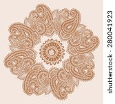 hand drawn henna mehndi... | Shutterstock .eps vector #280041923