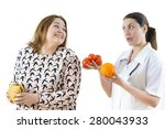 doctor advising a fat woman to... | Shutterstock . vector #280043933