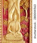 buddha wooden carving painted ... | Shutterstock . vector #280044563