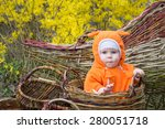 little girl in basket | Shutterstock . vector #280051718