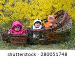 trio of babies in flowers basket | Shutterstock . vector #280051748