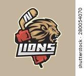 Hockey Emblem Ferocious Lion...