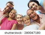 extended family group looking... | Shutterstock . vector #280067180