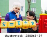 mom and daughter playing in the ... | Shutterstock . vector #280069439