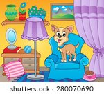 room with dog on armchair  ... | Shutterstock .eps vector #280070690