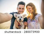 portrait of young happy couple... | Shutterstock . vector #280073900