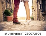 couple kissing outdoors  ... | Shutterstock . vector #280073906