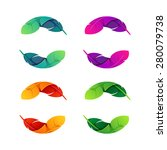 colorful feathers set  vector... | Shutterstock .eps vector #280079738