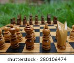 close up chess  board  set in...