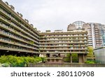view of barbican complex in...