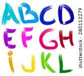 english alphabet brush vector... | Shutterstock .eps vector #280112279
