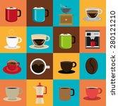 Coffee Design Over Colorful...