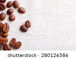 frame of coffee beans on color... | Shutterstock . vector #280126586