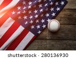 Baseball With American Flag In...