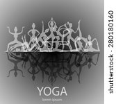 yoga poses silhouettes  vector... | Shutterstock .eps vector #280180160