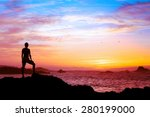wellbeing concept  silhouette... | Shutterstock . vector #280199000