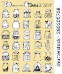 Постер, плакат: thirty doodle icons illustration