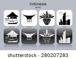 landmarks of indonesia. set of... | Shutterstock .eps vector #280207283