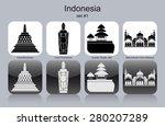 landmarks of indonesia. set of... | Shutterstock .eps vector #280207289