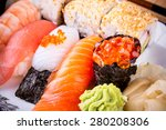 assortment fish sushi with... | Shutterstock . vector #280208306
