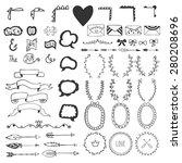 hand drawn vintage romantic... | Shutterstock .eps vector #280208696