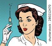 retro nurse gives an injection...   Shutterstock .eps vector #280212470