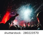 night club party crowd hands up   Shutterstock . vector #280223570